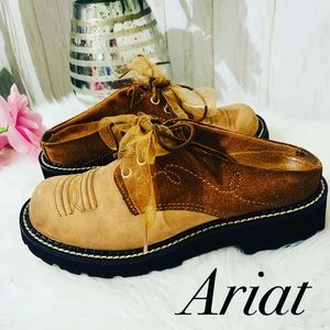 Rare Ariat Leather Two Tones Mules size 6.5